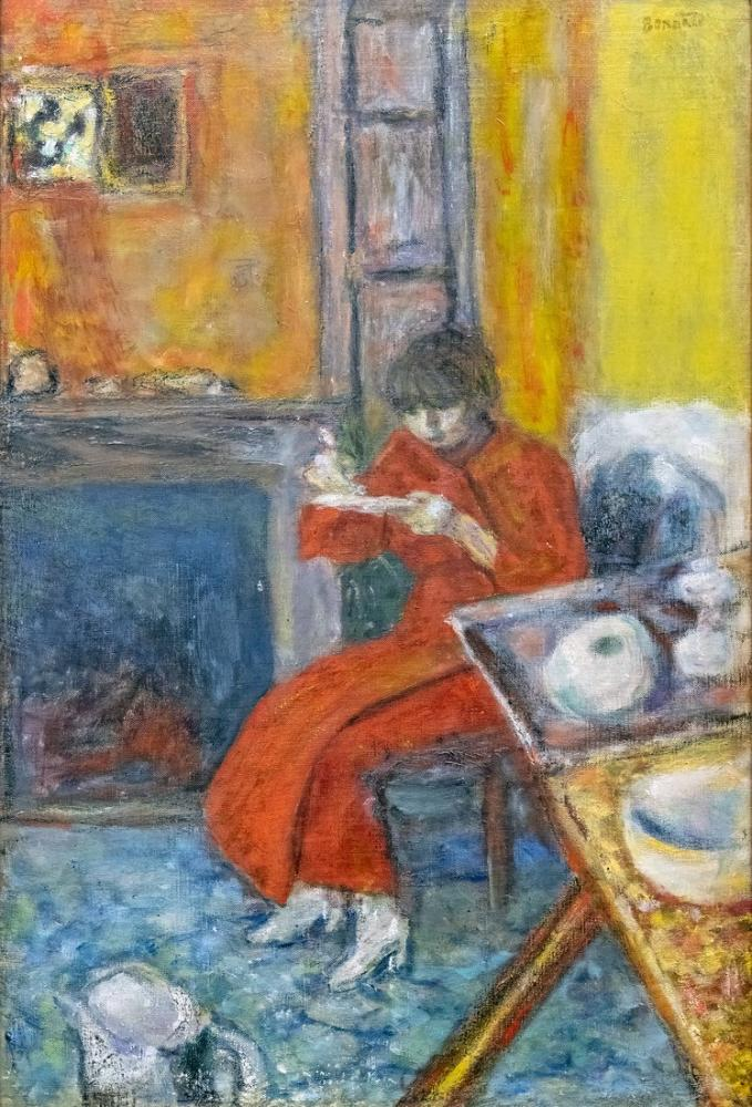 Pierre Bonnard Femme Au Peignoir Rouge, Canvas, Pierre Bonnard, kanvas tablo, canvas print sales