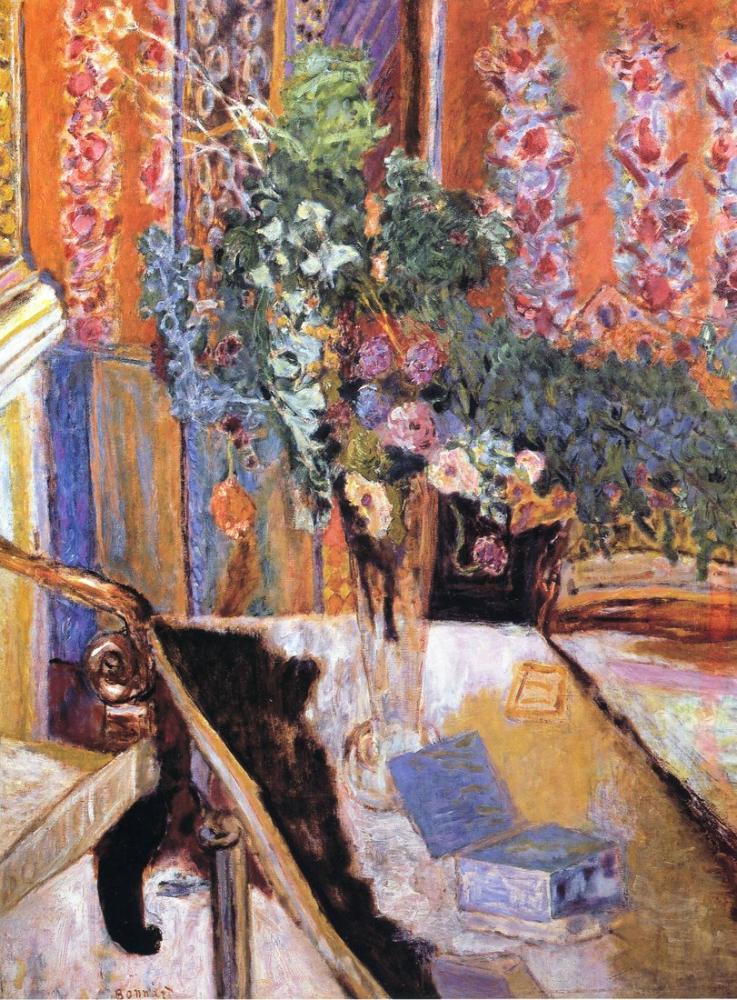 Pierre Bonnard Interior With Flowers, Canvas, Pierre Bonnard, kanvas tablo, canvas print sales