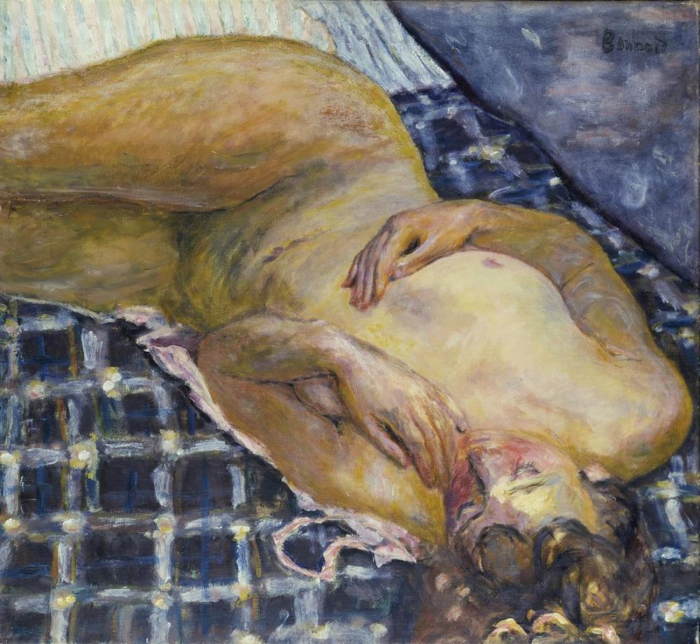 Pierre Bonnard Lying Nude On A Checkered White Background, Canvas, Pierre Bonnard, kanvas tablo, canvas print sales
