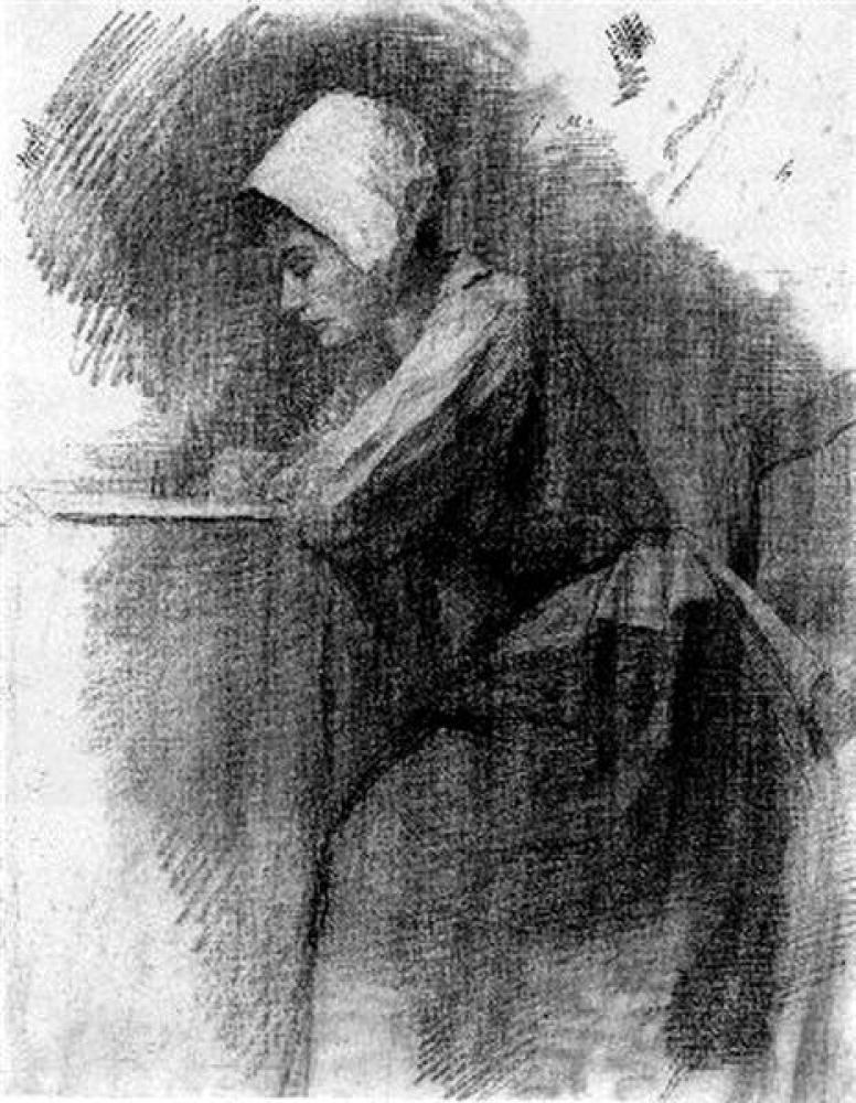 Piet Mondrian Yazı Yazan Kız, Kanvas Tablo, Piet Mondrian, kanvas tablo, canvas print sales