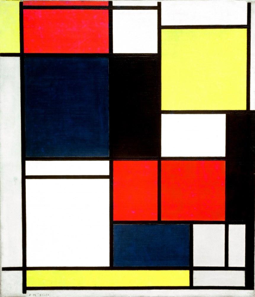 Piet Mondrian, Tableau No:2 1921-25 With Red Blue Black and Gray, Kanvas Tablo, Piet Mondrian, kanvas tablo, canvas print sales