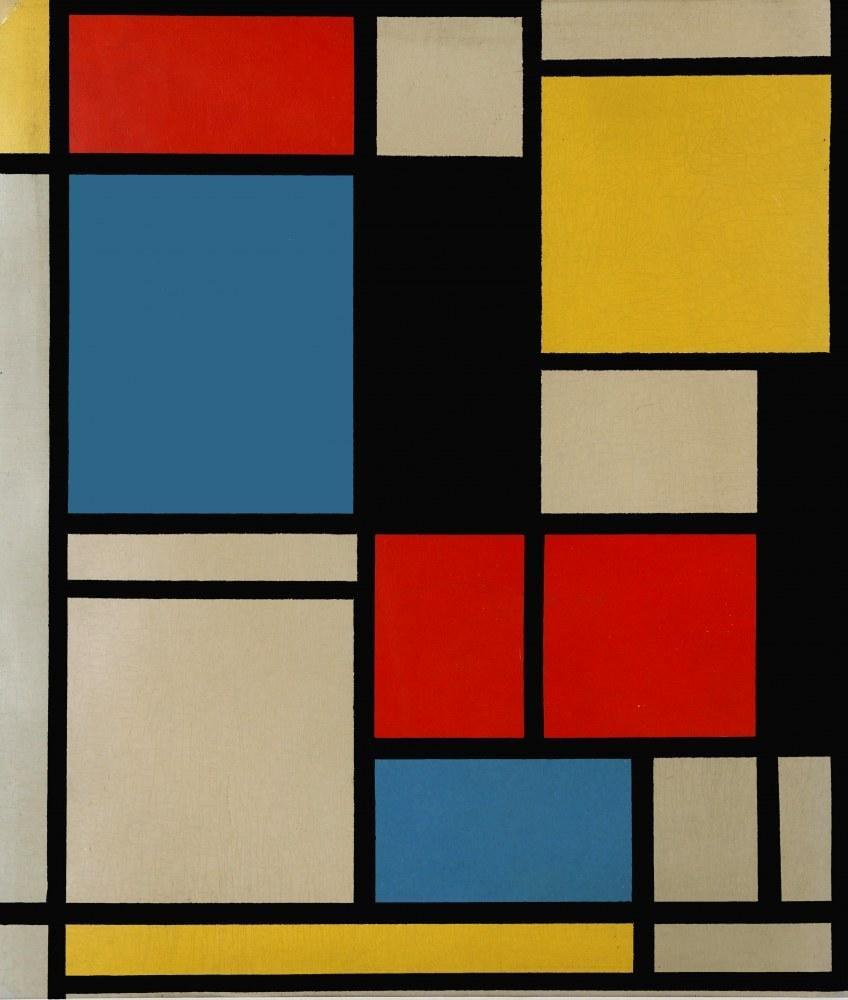 Piet Mondrian, Renklerde Mavi, Kırmızı ve Sarı Litografide Kompozisyon 1921, Kanvas Tablo, Piet Mondrian, kanvas tablo, canvas print sales