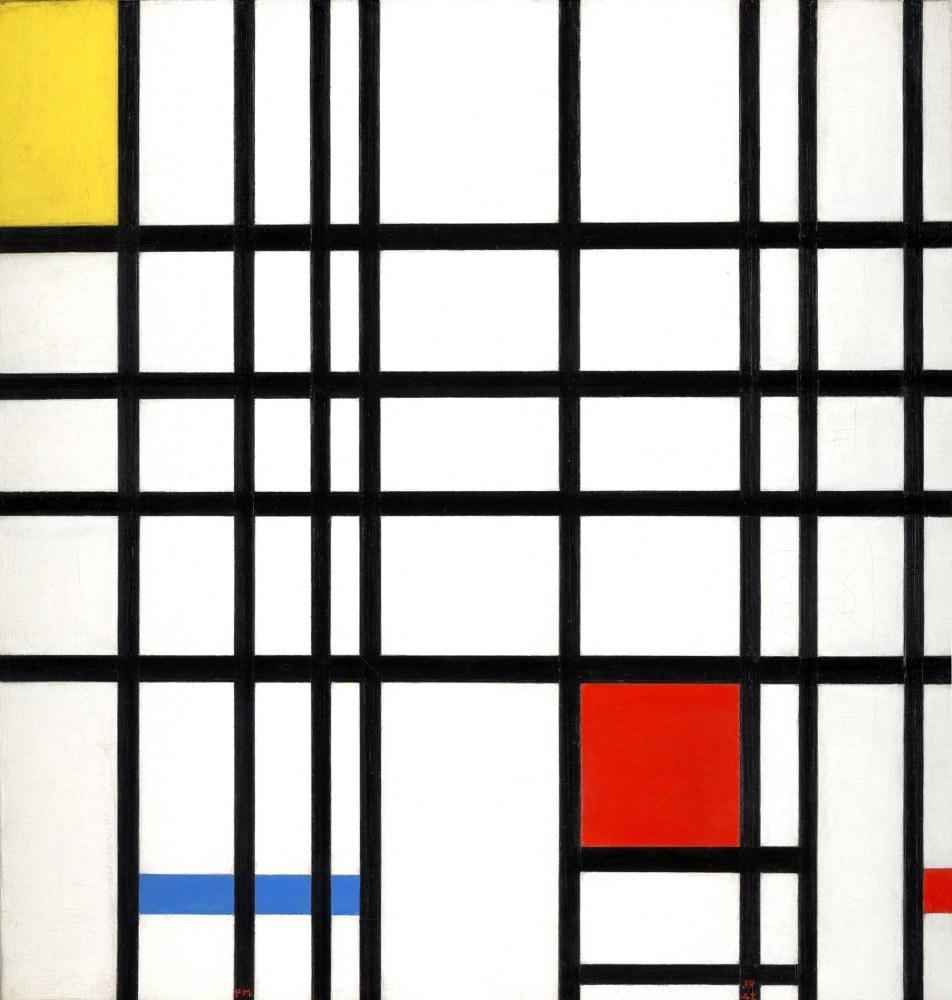 Sarı, Mavi ve Kırmızı ile Kompozisyon 1937-1942, Piet Mondrian, Kanvas Tablo, Piet Mondrian, kanvas tablo, canvas print sales