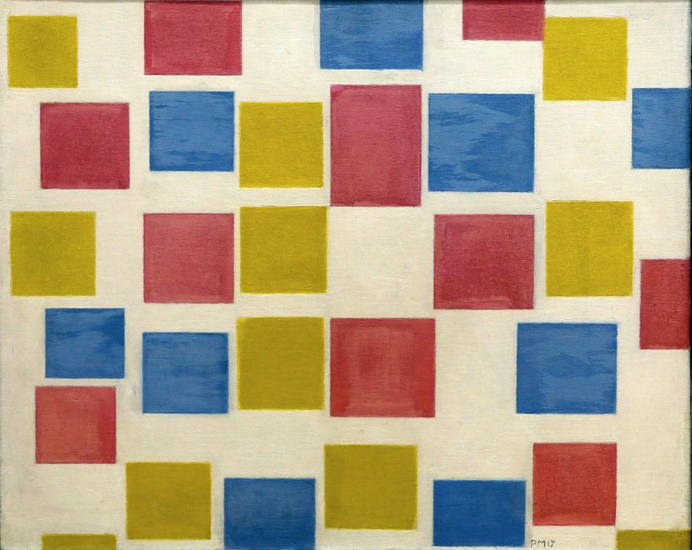 Renkli Arka Planlar ile Kompozisyon, Piet Mondrian, Kanvas Tablo, Piet Mondrian, kanvas tablo, canvas print sales