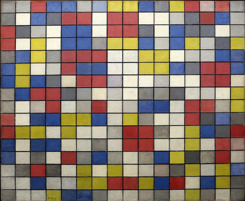 Composition With Grid 9 Chessboard Composition with Light Colors, Piet Mondrian, Canvas, Piet Mondrian, kanvas tablo, canvas print sales
