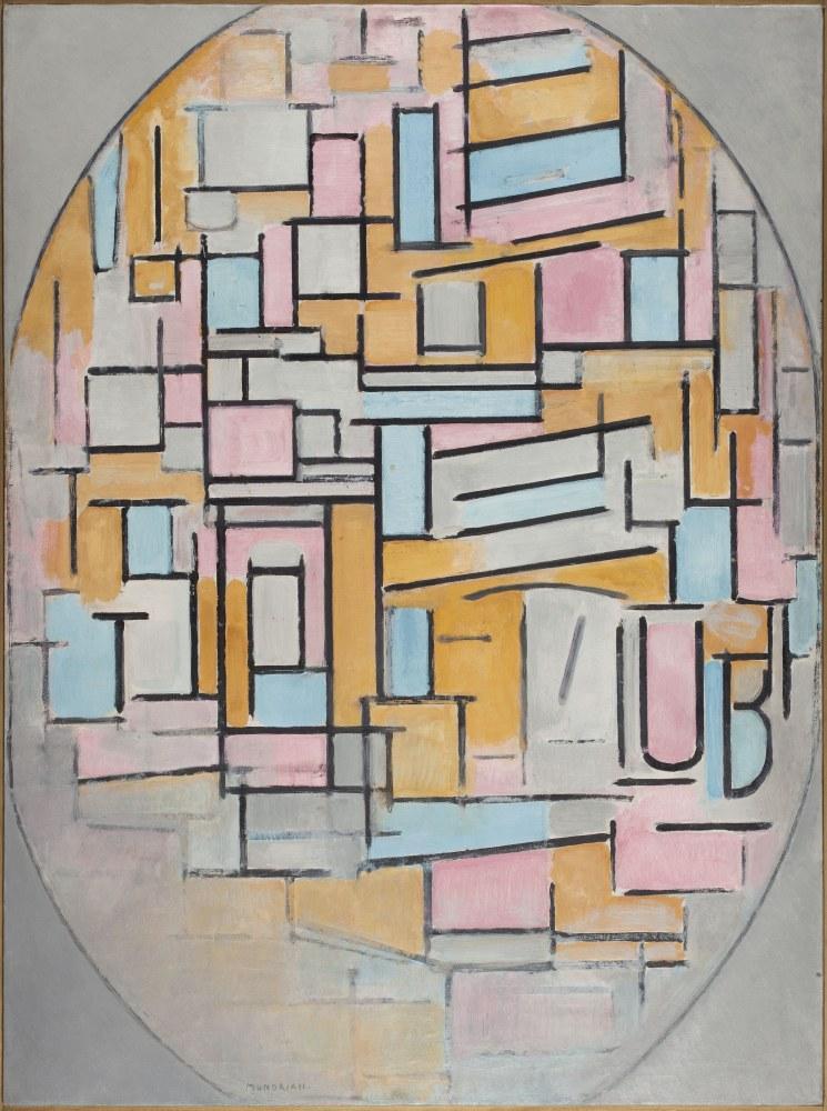 Composition in Oval with Color Surfaces 2, 1914, Piet Mondrian, Canvas, Piet Mondrian