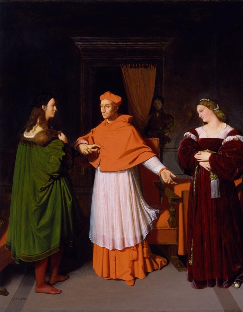 Raphael Jean Auguste Dominique Ingres Kardinal Bibbiena Nişanı Ve Yeğeni, Kanvas Tablo, Raphael, kanvas tablo, canvas print sales
