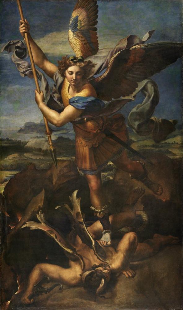 Raphael Le Grand Saint Michel Retouched, Canvas, Raphael, kanvas tablo, canvas print sales