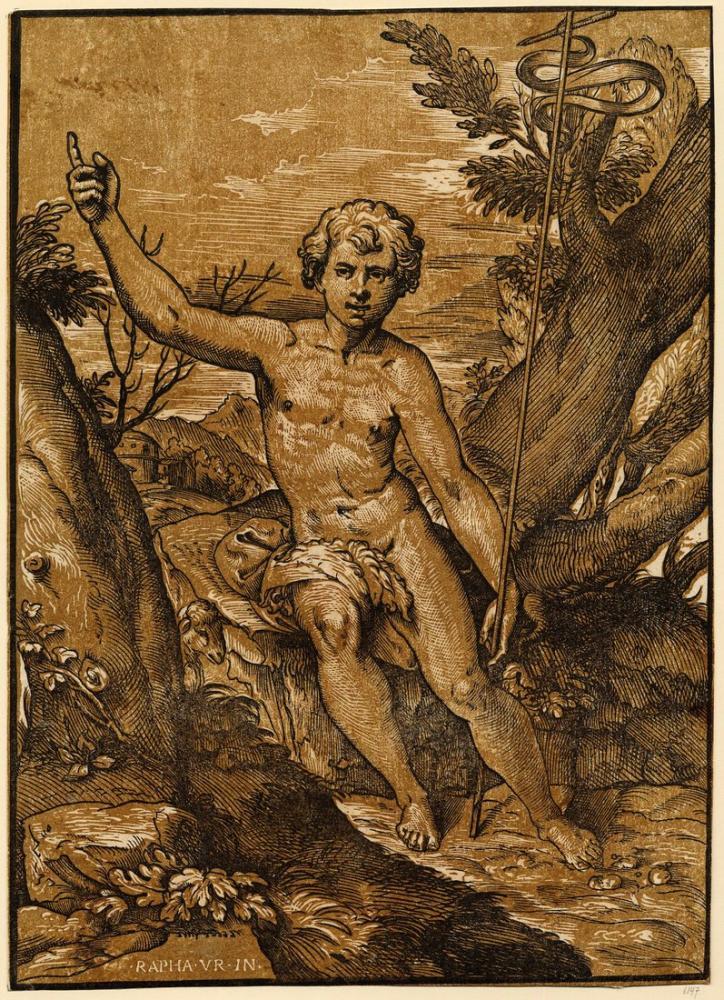 Raphael Vaftiz Desertchiaroscuro Vaaz Veren St John, Kanvas Tablo, Raphael, kanvas tablo, canvas print sales