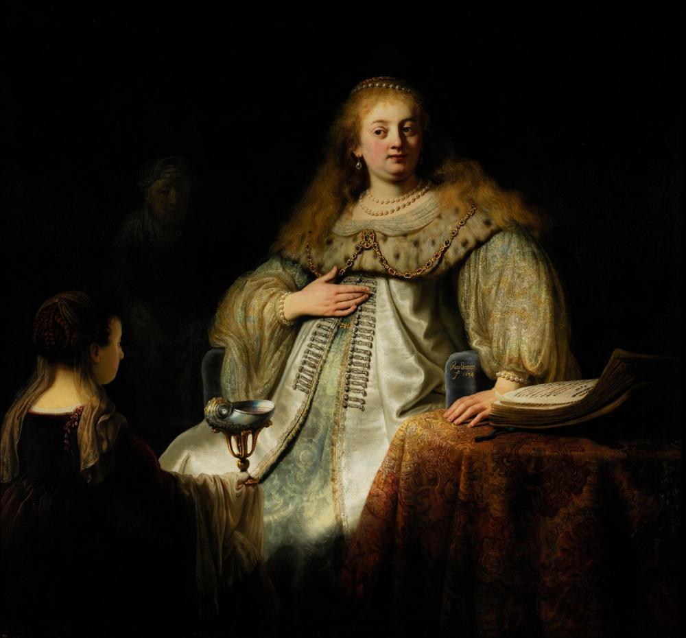 Rembrandt van Rijn, Judith Daha Önce Artemisia Olarak Bilinen Holofernes Ziyafetinde, Kanvas Tablo, Rembrandt, kanvas tablo, canvas print sales