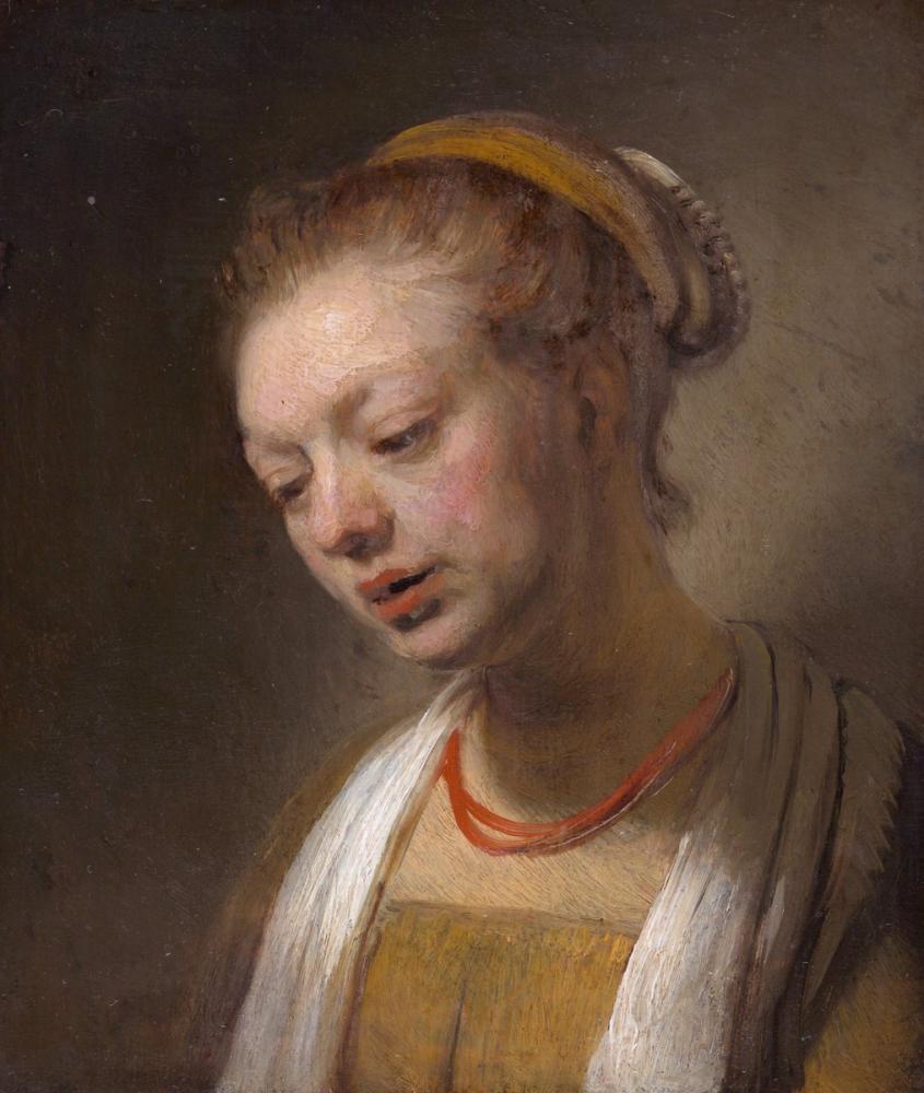 Rembrandt van Rijn, Kırmızı Kolyeli Genç Kadın, Kanvas Tablo, Rembrandt, kanvas tablo, canvas print sales
