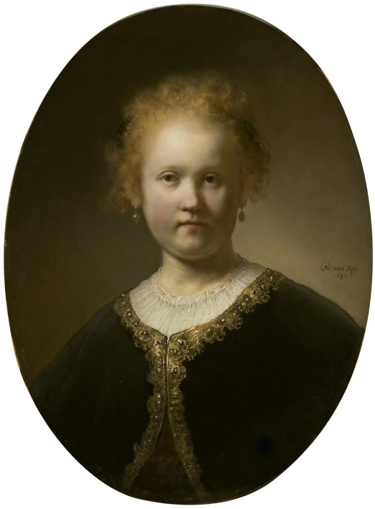 Rembrandt van Rijn, Young Girl In A Gold Trimmed Cloak, Canvas, Rembrandt, kanvas tablo, canvas print sales