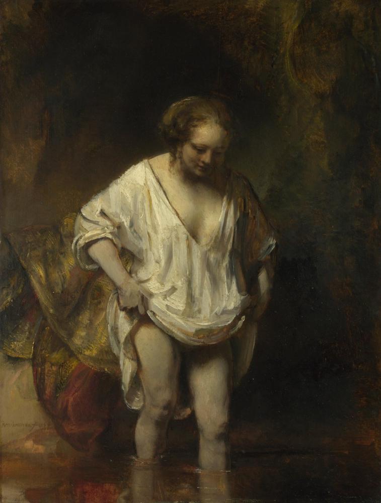 Rembrandt van Rijn, Bir Derede Yıkanan Bir Kadın, Kanvas Tablo, Rembrandt, kanvas tablo, canvas print sales