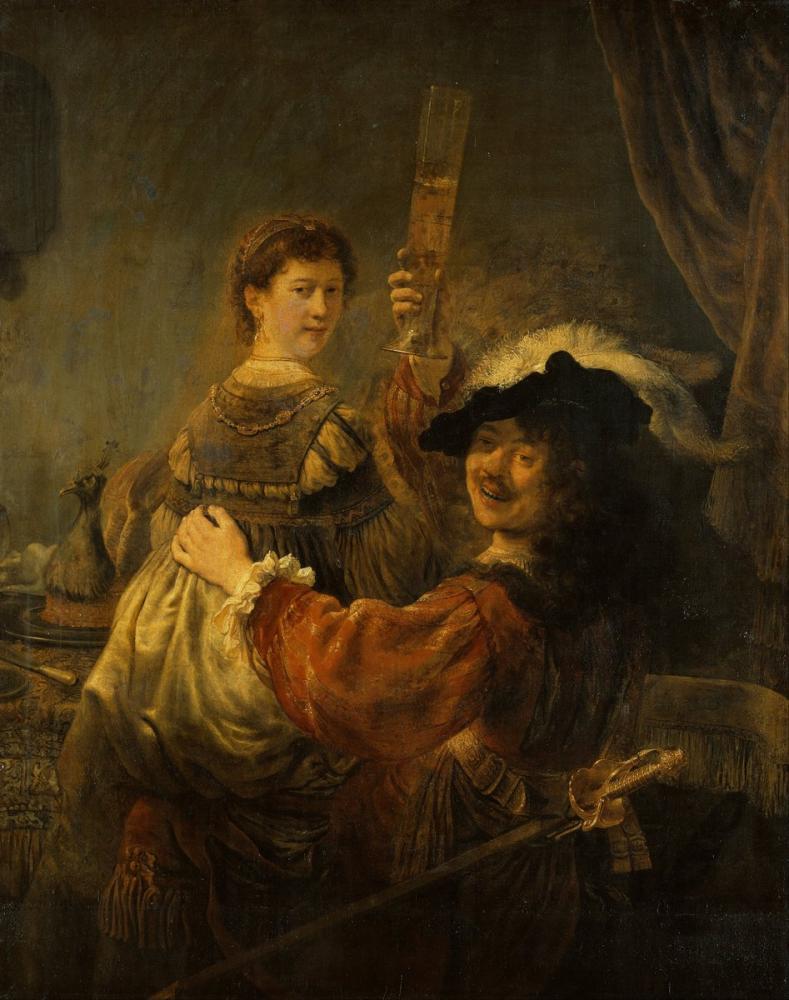 Rembrandt van Rijn, Saskia İle Otoportre, Kanvas Tablo, Rembrandt, kanvas tablo, canvas print sales