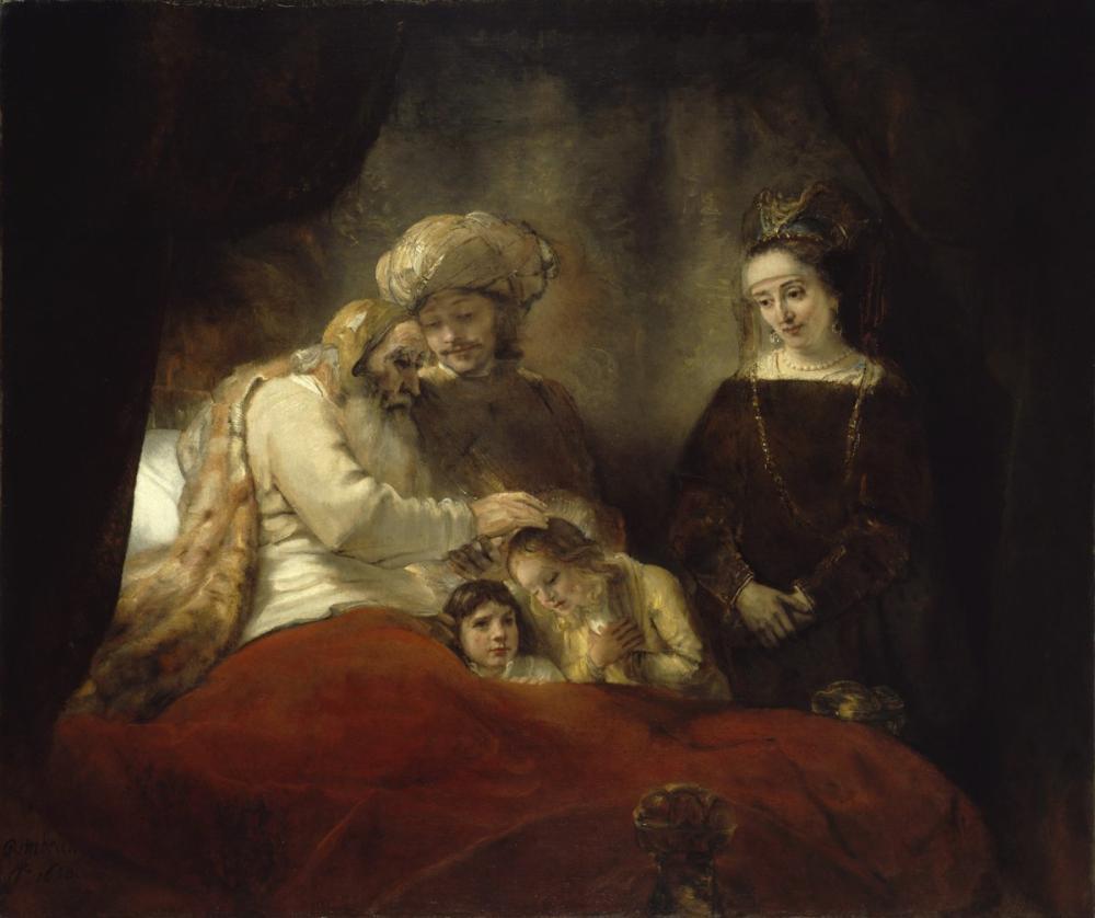 Rembrandt van Rijn, Jacob Blessing The Children Of Joseph, Canvas, Rembrandt, kanvas tablo, canvas print sales