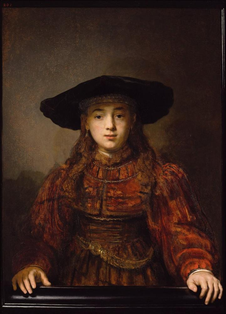 Rembrandt van Rijn, Girl In A Picture Frame, Canvas, Rembrandt, kanvas tablo, canvas print sales