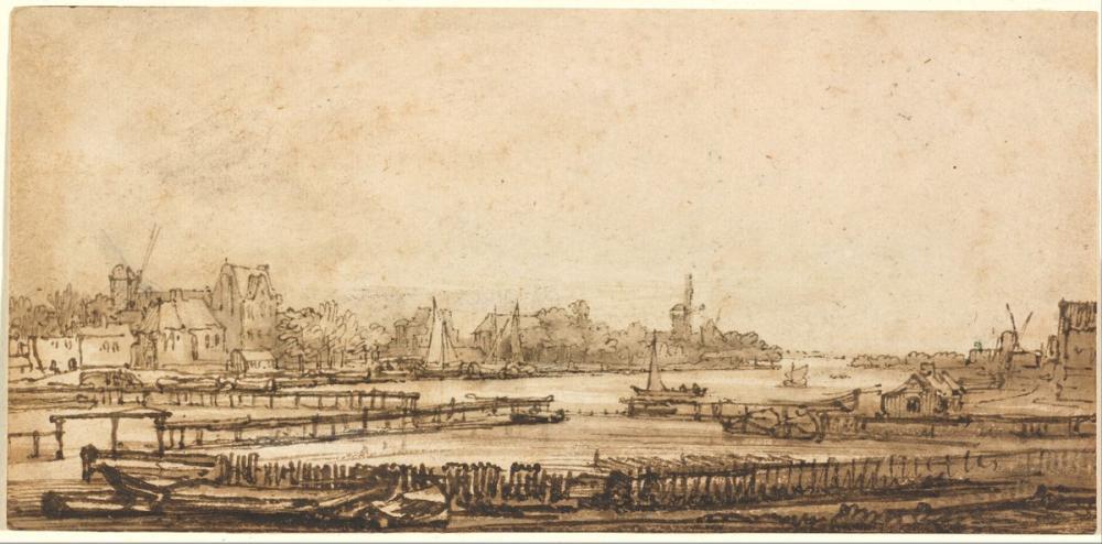 Rembrandt van Rijn, View Over The Amstel From The Rampart, Canvas, Rembrandt, kanvas tablo, canvas print sales