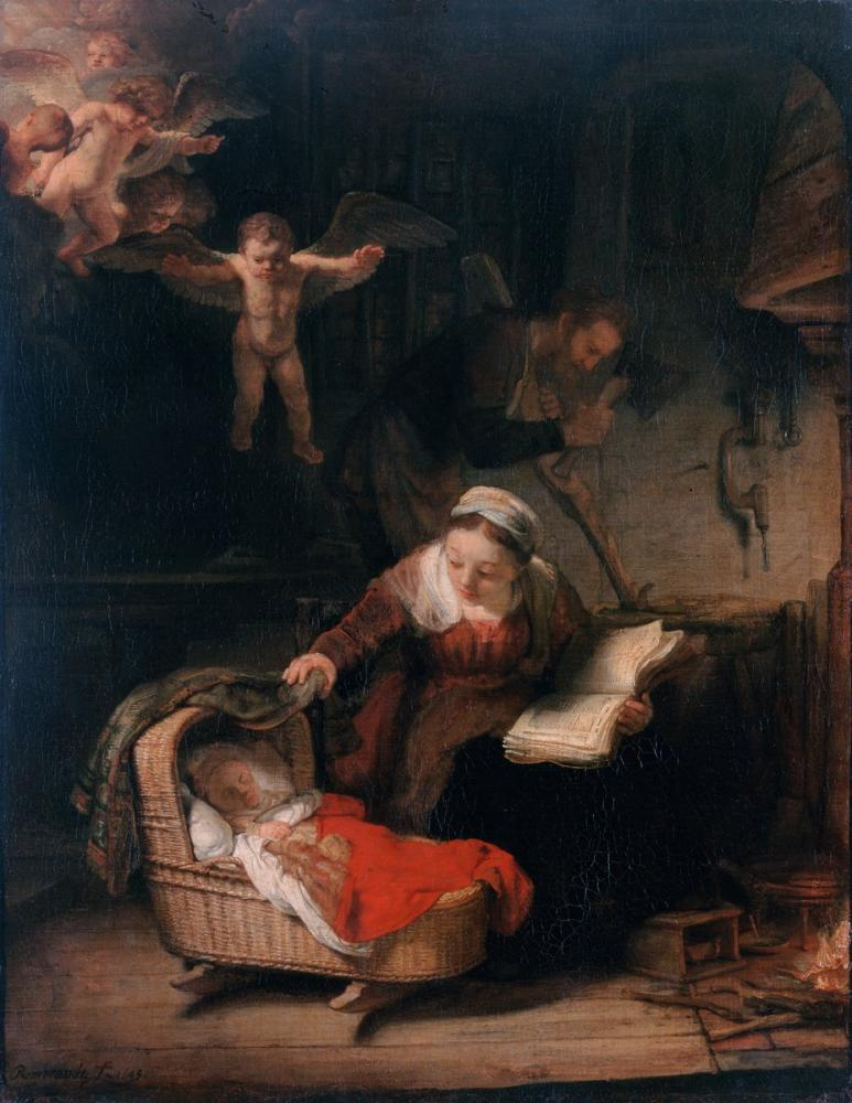 Rembrandt van Rijn, Meleklerle Kutsal Aile, Kanvas Tablo, Rembrandt, kanvas tablo, canvas print sales