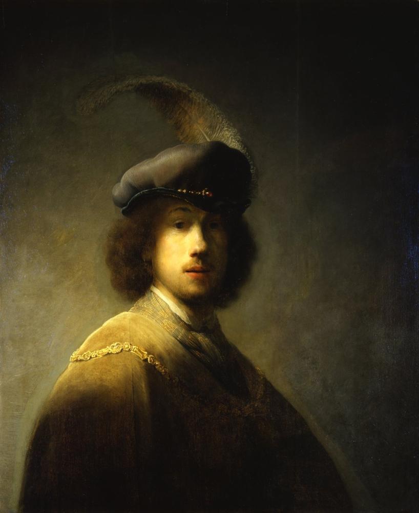 Rembrandt van Rijn, Self Portrait With Plumed Beret, Canvas, Rembrandt, kanvas tablo, canvas print sales