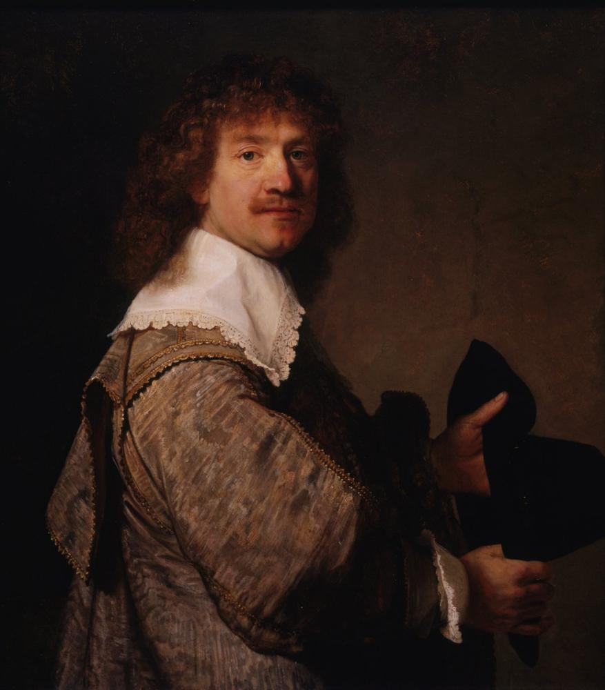 Rembrandt van Rijn, Man Holding A Black Hat, Canvas, Rembrandt, kanvas tablo, canvas print sales