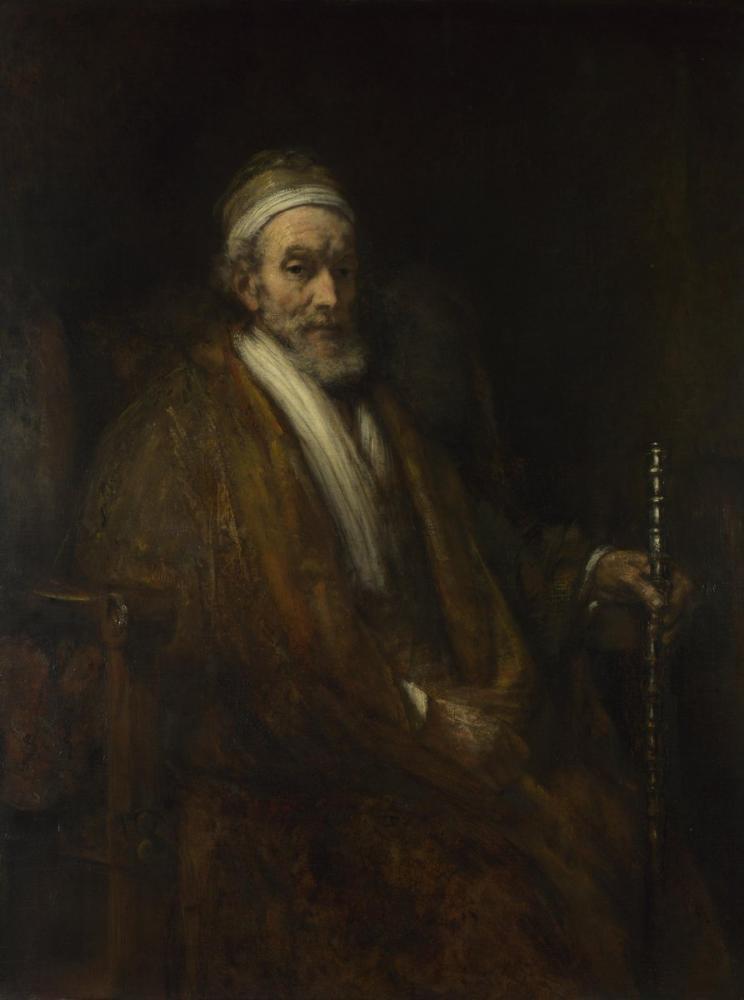 Rembrandt van Rijn, Yaşlı Adamla Birlikte Portre, Kanvas Tablo, Rembrandt, kanvas tablo, canvas print sales