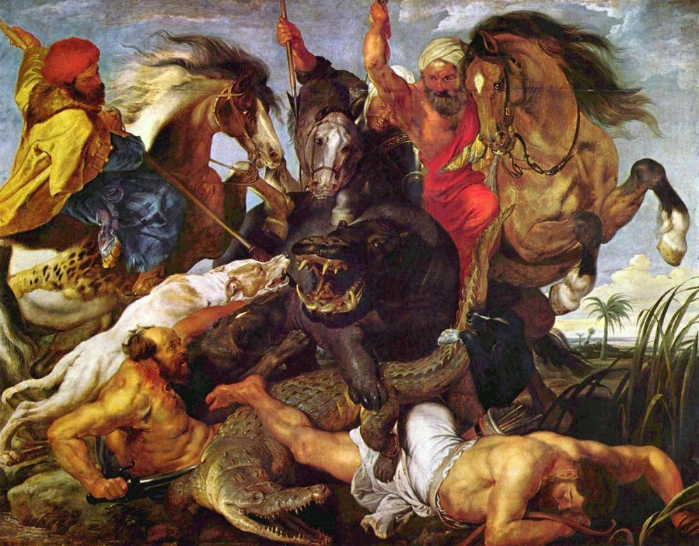 Rembrandt van Rijn, Hippopotamus And Crocodile Hunt, Canvas, Rembrandt, kanvas tablo, canvas print sales