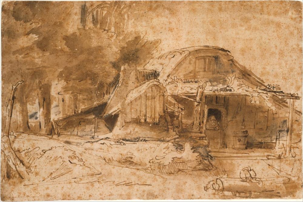Rembrandt van Rijn, Cottage Near The Edge Of A Wood, Canvas, Rembrandt, kanvas tablo, canvas print sales