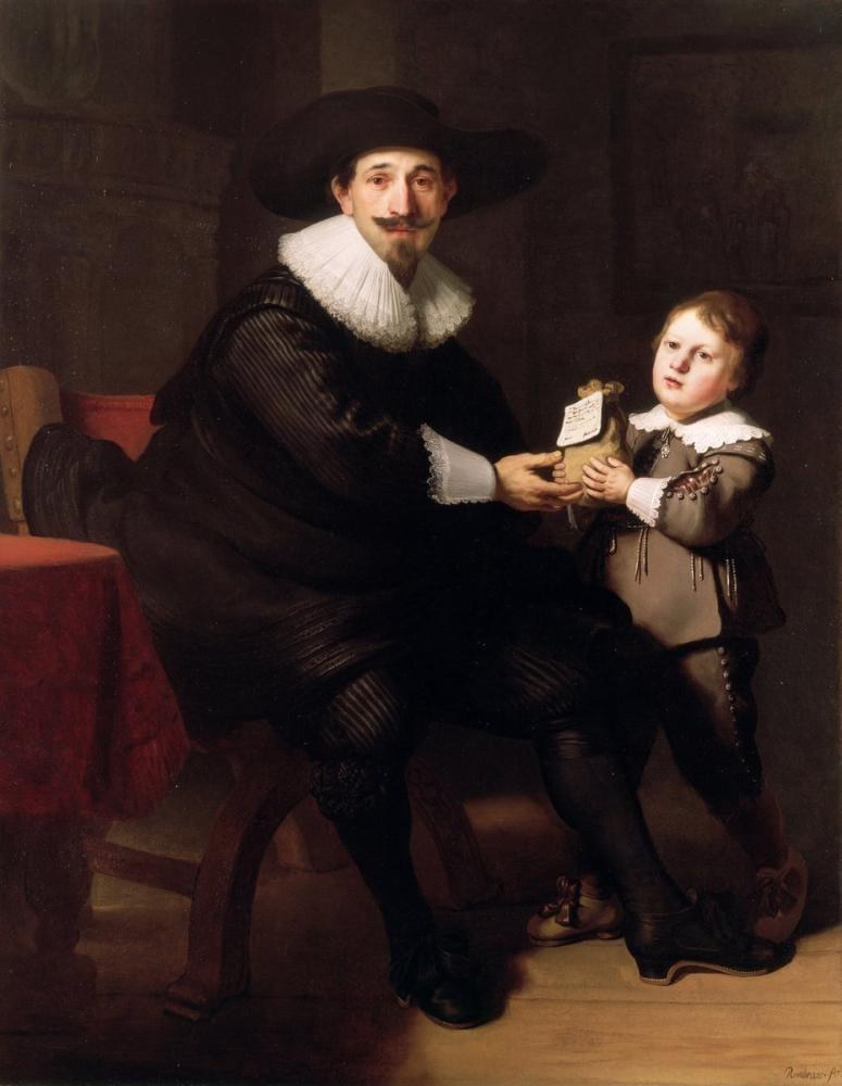 Rembrandt van Rijn, Jean Pellicorne Oğlu Caspar İle Birlikte, Kanvas Tablo, Rembrandt, kanvas tablo, canvas print sales