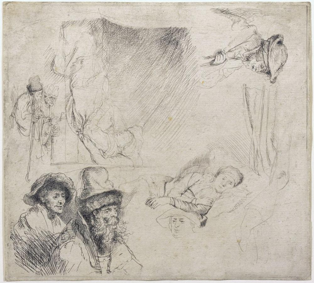 Rembrandt van Rijn, Sheet Of Studies, Canvas, Rembrandt, kanvas tablo, canvas print sales
