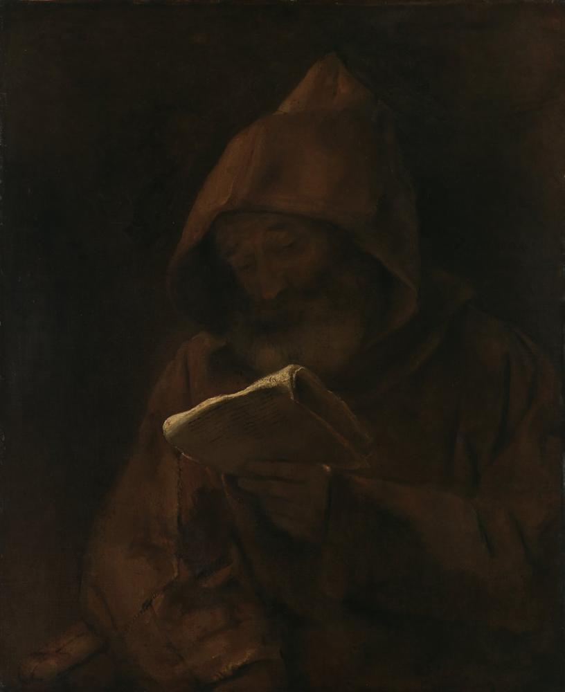 Rembrandt van Rijn, Keşiş Okuma, Kanvas Tablo, Rembrandt, kanvas tablo, canvas print sales