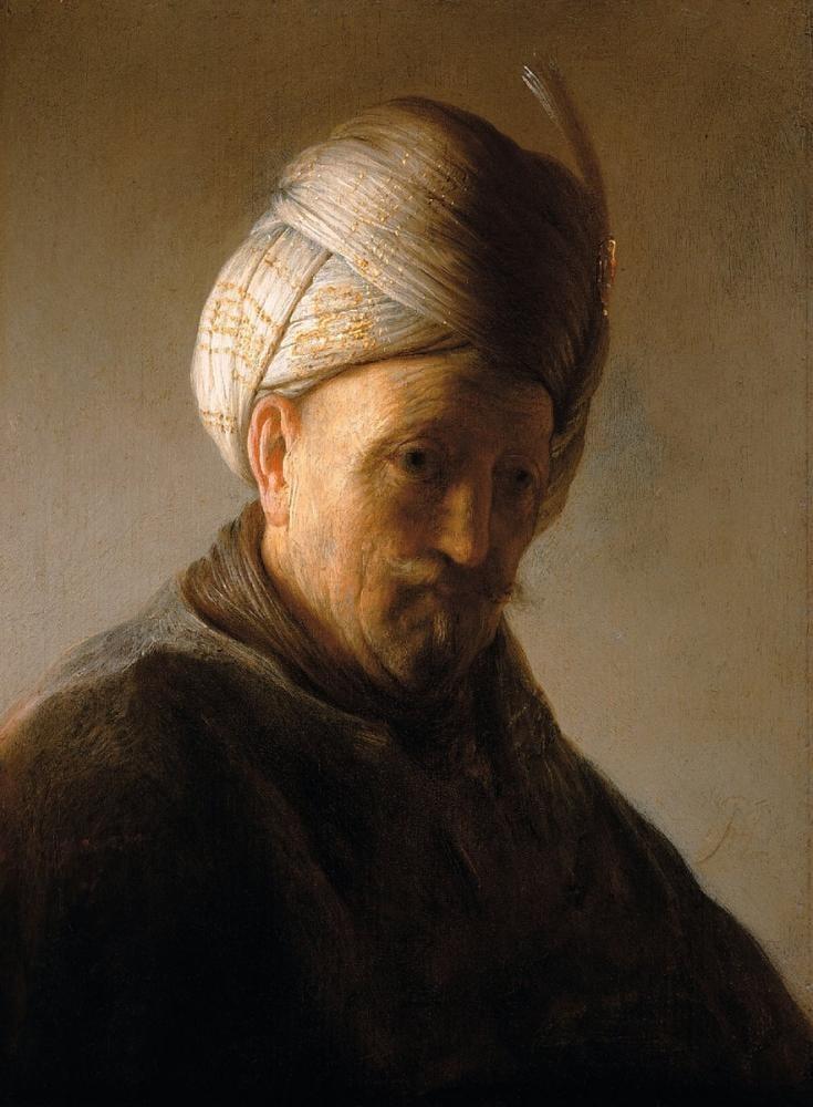 Rembrandt van Rijn, Türban Takan Bir Adam Büstü, Kanvas Tablo, Rembrandt, kanvas tablo, canvas print sales