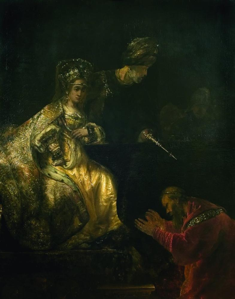 Rembrandt van Rijn, Haman Begs Esther For His Life, Canvas, Rembrandt, kanvas tablo, canvas print sales