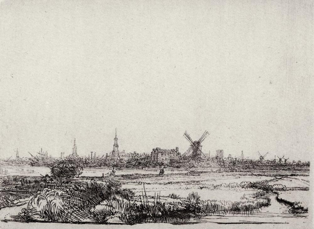 Rembrandt van Rijn, Ansicht von Amsterdam, Canvas, Rembrandt, kanvas tablo, canvas print sales