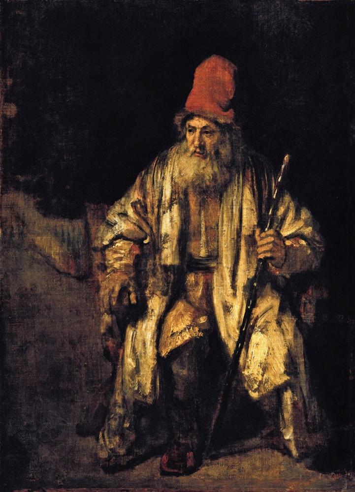 Rembrandt van Rijn, Kırmızı Şapkalı Yaşlı bBir Adamın Yağlı Boya Çalışması, Kanvas Tablo, Rembrandt, kanvas tablo, canvas print sales