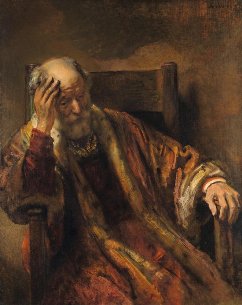 Rembrandt van Rijn, Bir Koltuktaki Yaşlı Adam, Kanvas Tablo, Rembrandt, kanvas tablo, canvas print sales