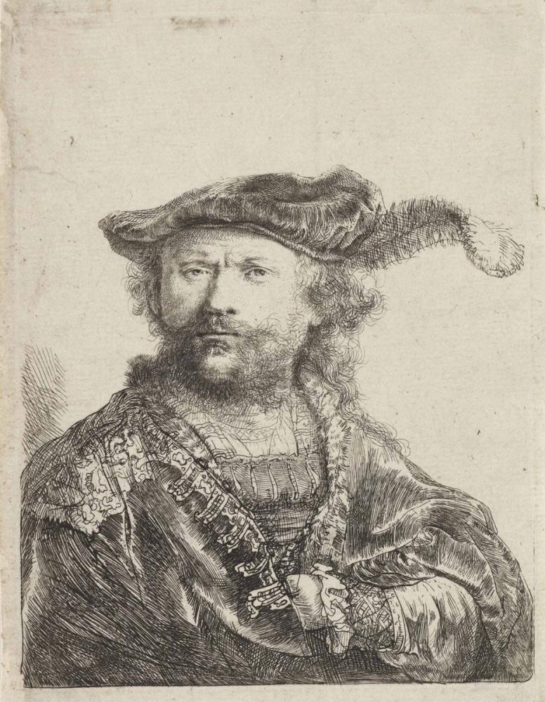 Rembrandt van Rijn, Tüylü Kadife Şapkalı Otoportre, Kanvas Tablo, Rembrandt, kanvas tablo, canvas print sales