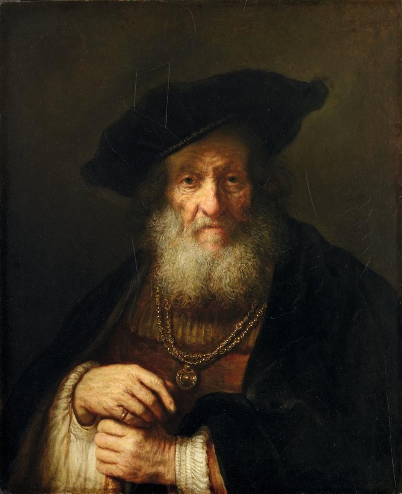 Rembrandt van Rijn, Zengin Kostümlü Yaşlı Bir Adam Muhtemelen Boas, Kanvas Tablo, Rembrandt, kanvas tablo, canvas print sales