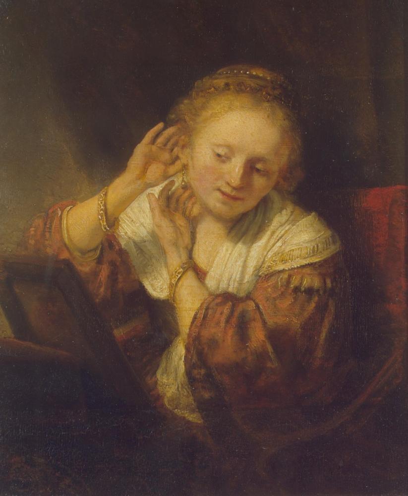 Rembrandt van Rijn, Woman With A Mirror, Canvas, Rembrandt, kanvas tablo, canvas print sales