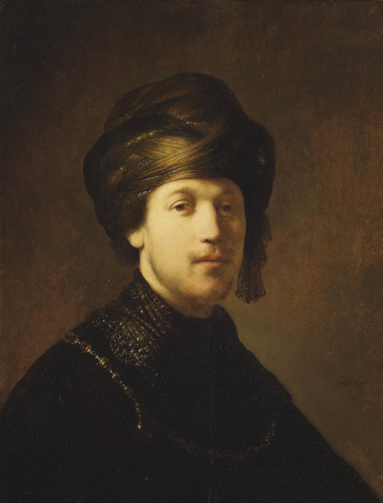 Rembrandt van Rijn, A Young Man Wearing A Turban, Canvas, Rembrandt, kanvas tablo, canvas print sales