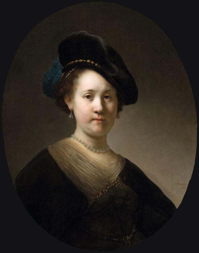 Rembrandt van Rijn, Tüylü Bir Şapka Giyen Genç Bir Kadının Büstü, Kanvas Tablo, Rembrandt, kanvas tablo, canvas print sales