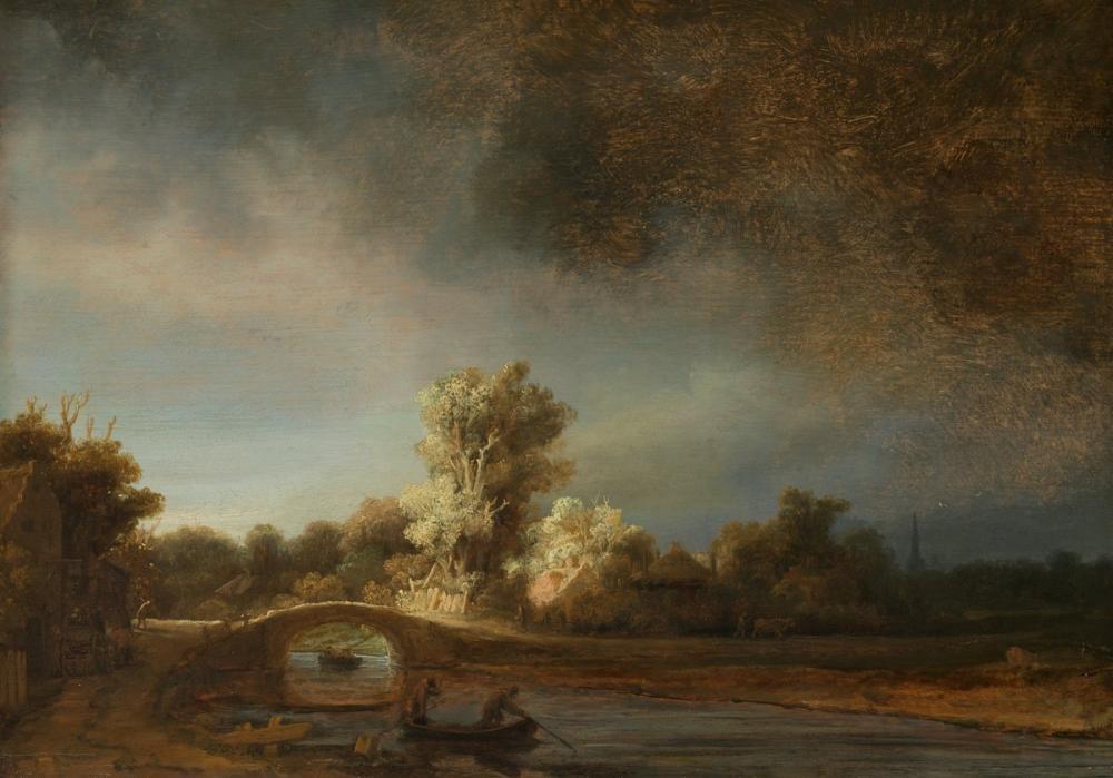 Rembrandt van Rijn, Landscape With A Stone Bridge, Canvas, Rembrandt, kanvas tablo, canvas print sales