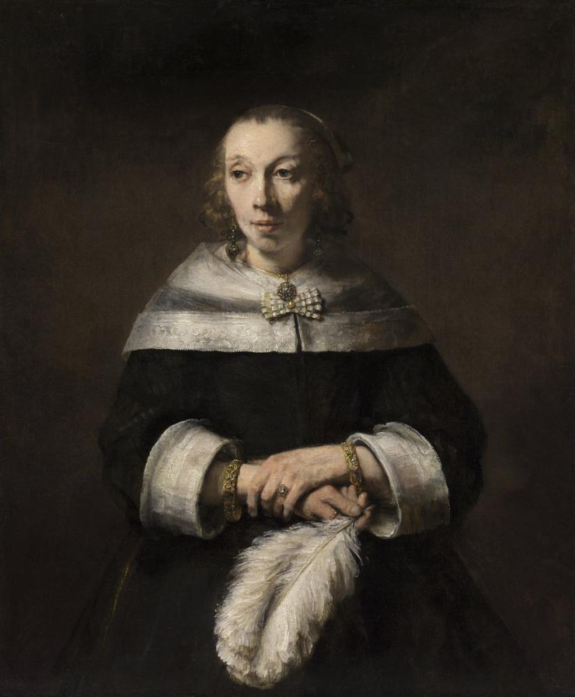 Rembrandt van Rijn, Devekuşu Tüyü Yelpazeli Bir Kadın Portresi, Kanvas Tablo, Rembrandt, kanvas tablo, canvas print sales
