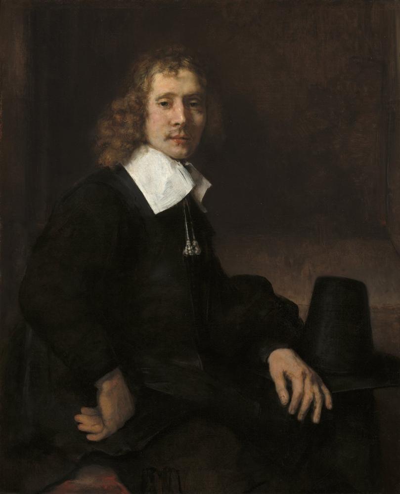 Rembrandt van Rijn, A Young Man Seated At A Table Possibly Govaert Flinck, Canvas, Rembrandt, kanvas tablo, canvas print sales