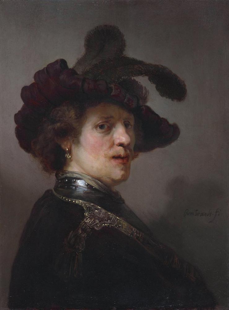 Rembrandt van Rijn, Tüylü Şapkalı Bir Adam Portresi, Kanvas Tablo, Rembrandt, kanvas tablo, canvas print sales