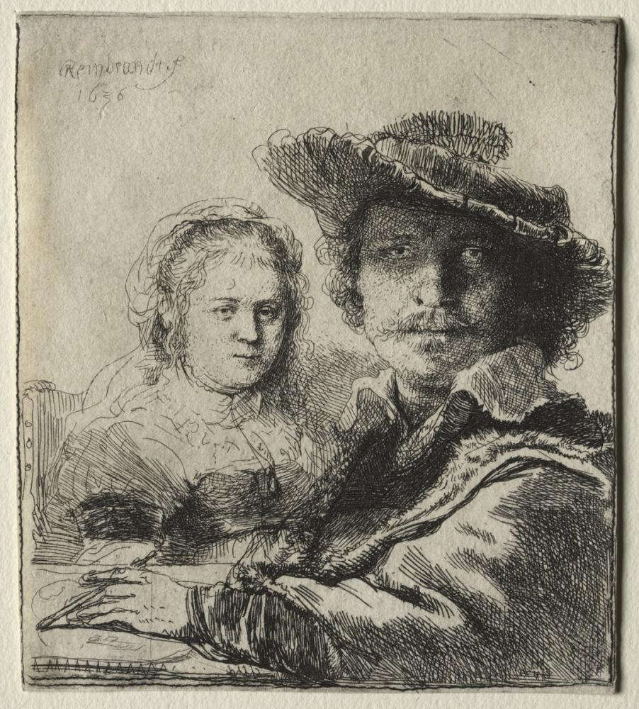 Rembrandt van Rijn, Self Portrait With His Wife Saskia, Canvas, Rembrandt, kanvas tablo, canvas print sales