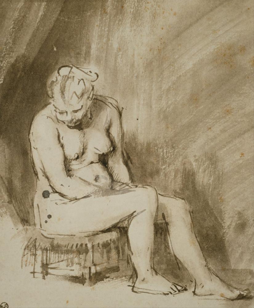 Rembrandt van Rijn, Nude Woman Seated On A Stool, Canvas, Rembrandt, kanvas tablo, canvas print sales