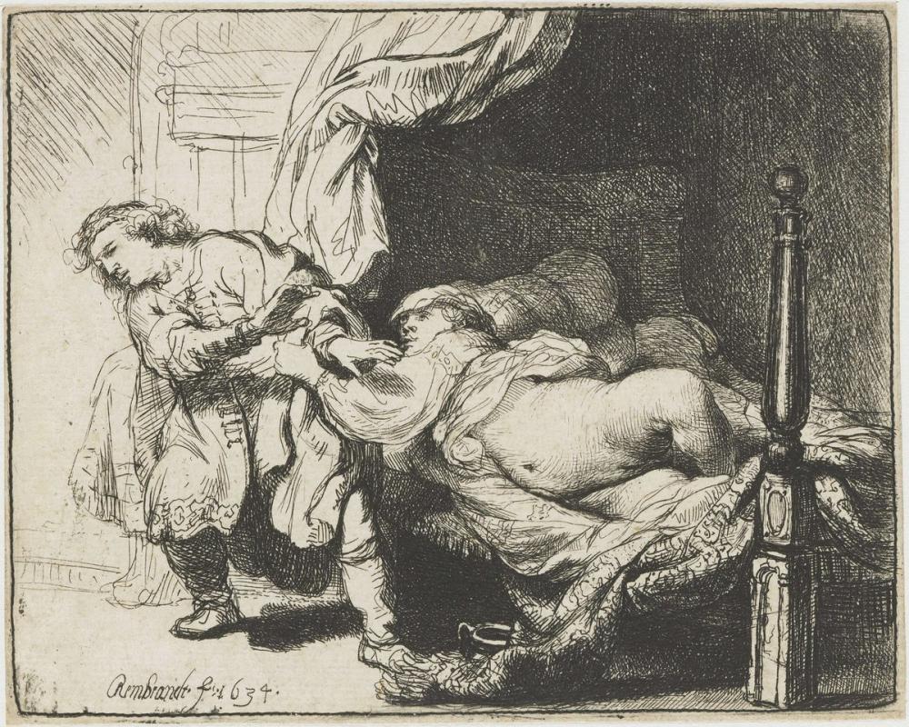 Rembrandt van Rijn, Joseph Ve Potiphar Karısı, Kanvas Tablo, Rembrandt, kanvas tablo, canvas print sales
