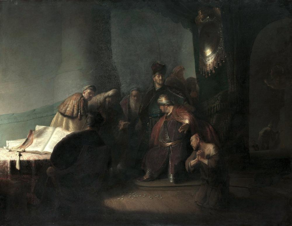 Rembrandt van Rijn, Judas Otuz Gümüş Parçasını Geri Veriyor, Kanvas Tablo, Rembrandt, kanvas tablo, canvas print sales