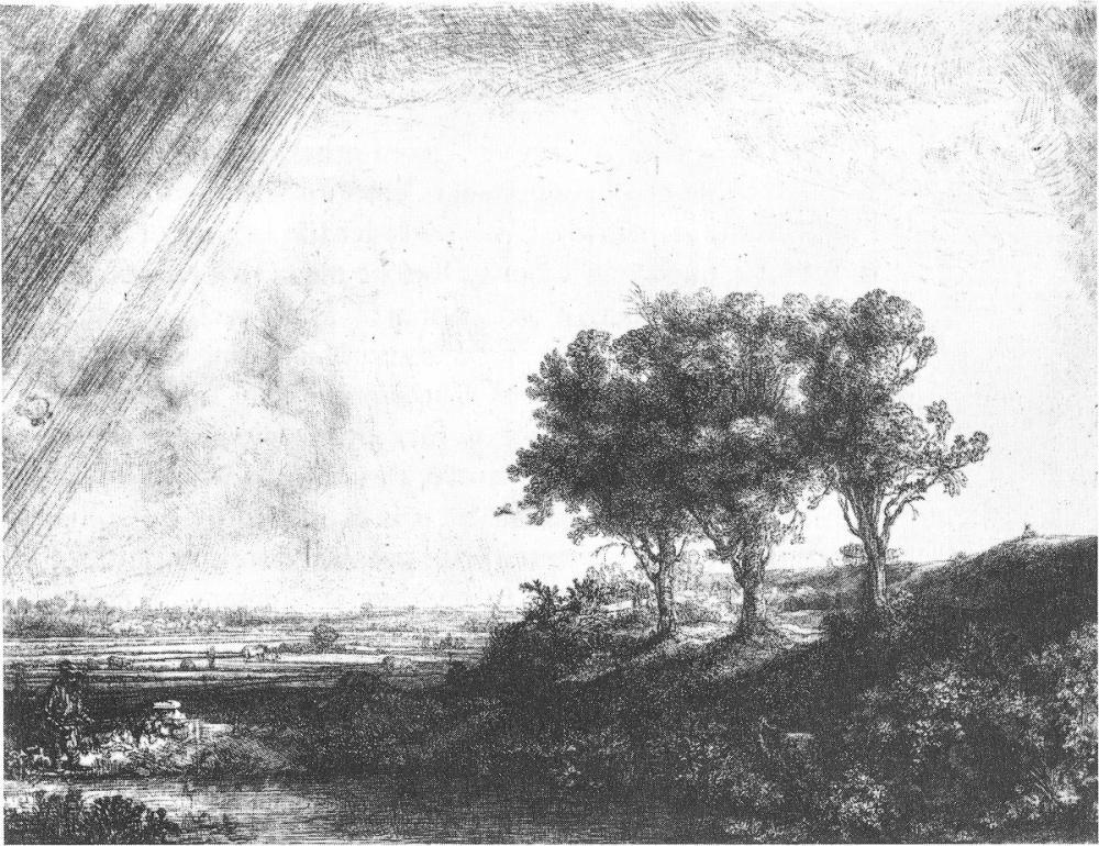 Rembrandt van Rijn, Üç Ağaç Gravür, Kanvas Tablo, Rembrandt, kanvas tablo, canvas print sales