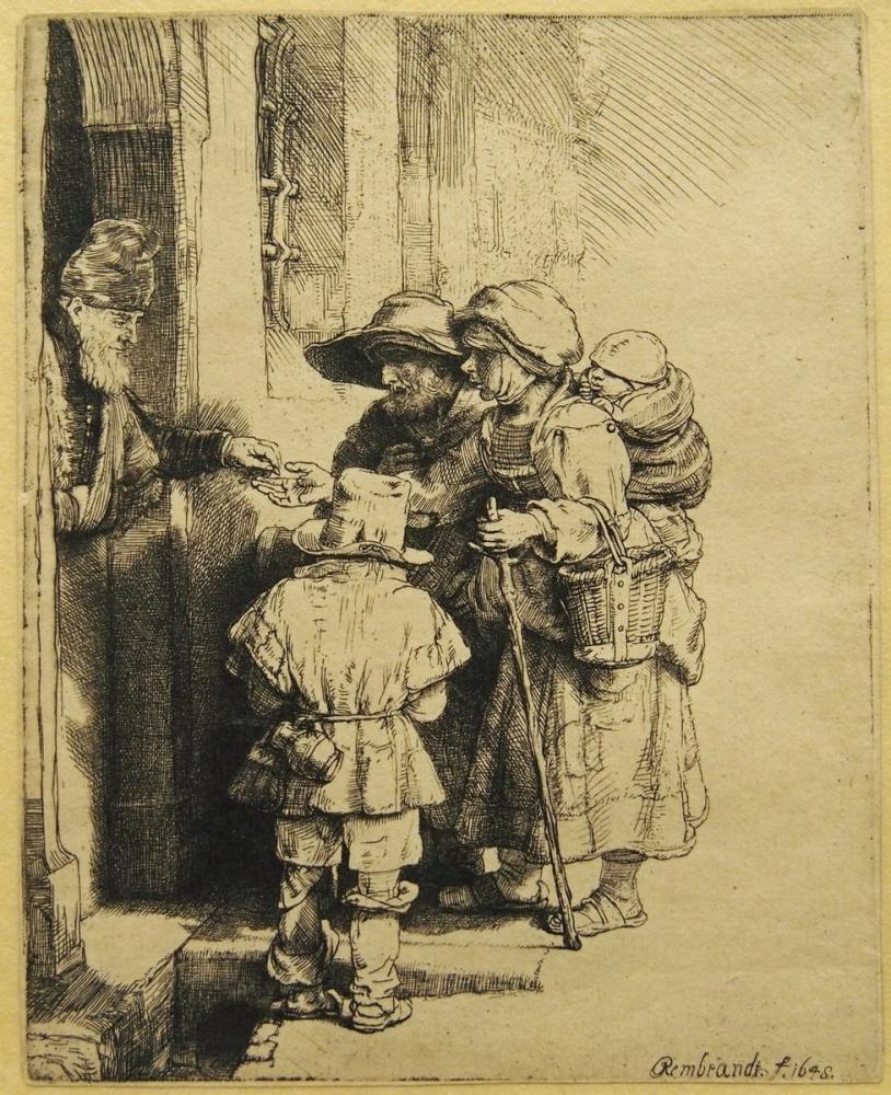 Rembrandt van Rijn, Family Receiving Alms, Canvas, Rembrandt, kanvas tablo, canvas print sales
